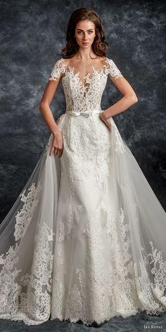 ira koval 2017 bridal short sleeves sweetheart neckline heavily embellished bodice romantic a line wedding dress sheer button back chapel train (601) lv