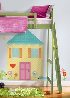 Create a colorful and cute little house right your child's wall!