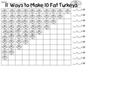 """""""11 Ways to Make 10 Fat Turkeys"""" (part of """"A Fall Mini Unit to Help Kids Understand the Relationships of Addition Using Friendly 10"""" by First Grade Wow)"""
