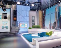 Explore photos of MBC's TV set design in this interactive gallery of the studio. Tv Set Design, Stage Set Design, App Design, Virtuelles Studio, Studio City, Studio Design, Tv Decor, Home Decor, Tv Sets
