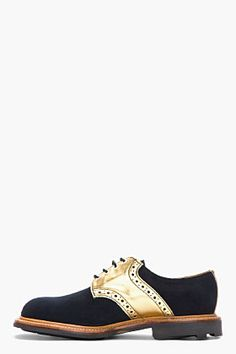 MARK MCNAIRY Navy and Gold Nubuck and Leather Saddle Shoes