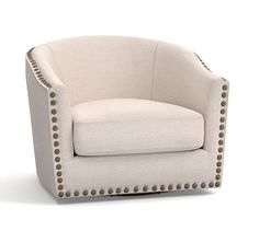 Harlow Upholstered Swivel Armchair with Pewter Nailheads, Polyester Wrapped Cushions, Performance Twill, Warm White