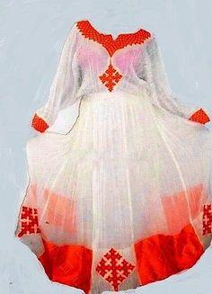 Hand Made Ethiopian Eritrean African womens Dress. by Ethiomerkato African Attire, African Wear, African Women, African Dress, African Fashion, Women's Fashion, Ethiopian Traditional Dress, Traditional Fashion, Traditional Dresses