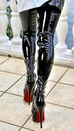 High Top Boots, Thigh High Boots Heels, High Leather Boots, Stiletto Boots, Hot High Heels, Heeled Boots, Shiny Boots, Crotch Boots, Botas Sexy