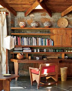 F.L. Wright's Fir Tree House. The original owners and their heirs have kept the interior of the lodge intact, including Wright's specially designed furniture, such as the desk in a corner of the living room.