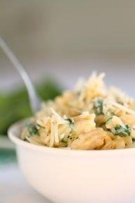 spinach, parmesan, garlic orzo
