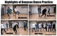 BTS Bapsae dance practice --->   ©Facebook BTS Memes