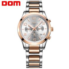 78.65$  Buy now - http://ali89s.worldwells.pw/go.php?t=32745001443 - 2016 DOM Business Style Man Mechanical Wrist Watch Luxury Fashion Stainless Steel Strap Watch For Men Dress Clock Montre Homme 78.65$