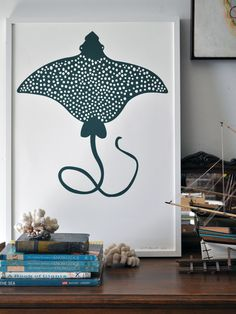 Image of Teal Green Spotted Eagle Ray Print  http://shop.banquetworkshop.com/product/spotted-eagle-ray#