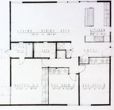 The Basic floor plan of an Alexander #MidCenturymodern Tract Homes found in #PalmSprings