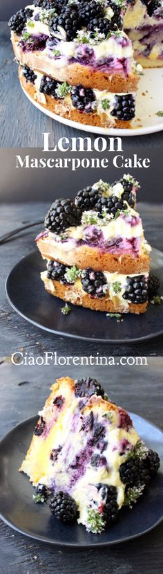 Italian Lemon Mascarpone Cake with Berries, Lemon Curd and Olive Oil | CiaoFlorentina.com @CiaoFlorentina