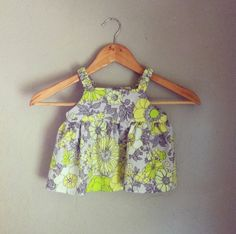 Baby Girl Summer Top  Gray with Bright Green & by CBLApparel, $25.00
