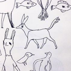 Sketchbook creatures #illustration #illustrator #sketchbook #sketch #drawing #doodle #art #handmade #pen #pendrawing #penandink #surfacedesign #surfacepattern #pattern #printmaking #creatures #design by ashley.amery
