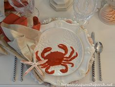 A Lobster and Crab Fest: Beach Party Table Setting | http://betweennapsontheporch.net/a-lobster-crab-fest-beach-party-table-setting/