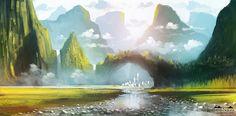 Las ilustraciones y concept art de Roberto Nieto - CICE Fantasy Male, Fantasy World, Scenery Pictures, Fantasy Places, Fantasy Setting, Fantasy Illustration, Fantasy Inspiration, Fantasy Landscape, Environmental Art