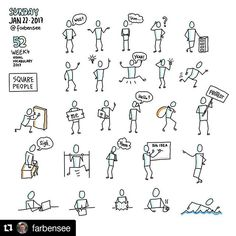 #Repost @farbensee with @repostapp ・・・ Square People on square canvas... week 4 of visual vocabulary practice. I used again Procreate. Next time I'll try Concepts, which also seems a nice alternative, not so many options as Procreate. Would be a good start to do. Emotions, Hands and Faces again... :-) #farbensee #sketchnote #squarepeople #therevisionguide_52wvv #52wvv_week4 #procreate