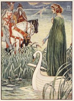 King Arthur asks the Lady of the Lake for the sword Excalibur, from 'Stories of the Knights of the Round Table' by Henry Gilbert, first edition, 1911 by Walter Crane