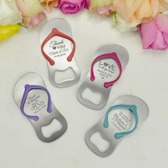 Wedding Flip Flop Bottle Opener Wedding Favor. Great idea for a beach wedding.