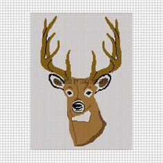 DEER BUCK HEAD STAG HORN CROCHET AFGHAN CROSS STITCH PATTERN GRAPH CHART | CozyConcepts - Patterns on ArtFire