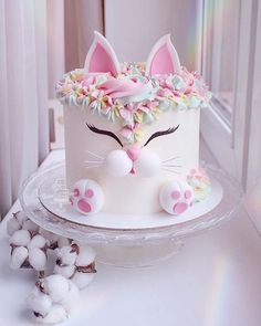 Secrets To A Perfect Cake on How cute is this Love the details. Secrets To A Perfect Cake on How cute is this Love the details. This cat looks so adorable! Pretty Cakes, Cute Cakes, Beautiful Cakes, Amazing Cakes, Cute Birthday Cakes, Baby Girl Birthday Cake, Cake Baby, Cake For Baby Girl, Baby Shower Cake For Girls