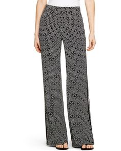 White House Black Market Printed Knit Palazzo Pants / I love the side stripe!
