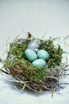 Even though the wind is howling and the rain is pelting against my windows and it is brrrrrr… cold, I am thinking Spring!  Here at StoneGable, the birds are not building nests yet, but I am! These homemade nests are a bit messy but easy and fun to make!   I'll show you …