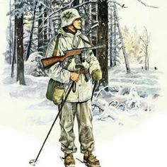 A nice drawing of a Finnish soldier in winter camo armed with a Suomi mp/31 and a flare gun tucked in his belt. Pin by Paolo Marzioli