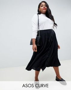 cd65944cac5e ASOS DESIGN Curve button front floaty midi skirt with box pleats Σύνολα Για  Εύσωμους