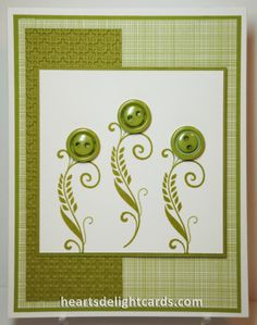 STAMPS: Flowering Flourishes, Delightful Dozen  CARDSTOCK: Whisper White, Old Olive, Pumpkin Pie, Gingham Garden DSP  INK: Old Olive, Basic Black  ACCESSORIES: Big Shot, Circle Card Thinlits, Modern Label Punch, Brights Designer Buttons, Brights Candy Dots