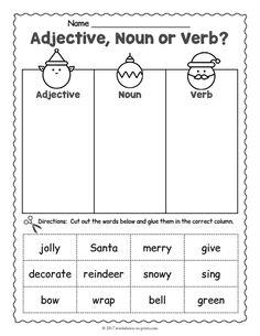 Nouns Worksheet, Verb Worksheets, Printable Worksheets, English Grammar Worksheets, Christmas Worksheets Kindergarten, First Grade Worksheets, Nouns And Adjectives, Christmas Writing, Phonics