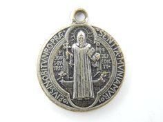 Vintage Saint Benedict Exorcism Medal - Religious Charm - Catholic Medal Jubilee St Benedict - M43 by LuxMeaChristus on Etsy
