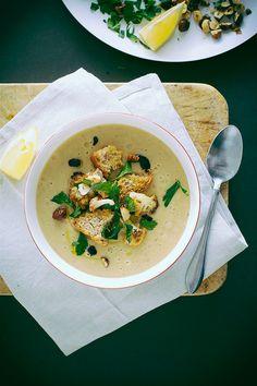 roasted cauliflower + onion soup