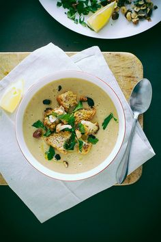 roasted cauliflower + onion soup » just made this and it's incredible (sub a head of garlic for 1 lb of potatoes)