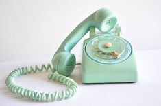 Vintage Aqua Mint Green Teal Rotary Phone by thelittlebiker