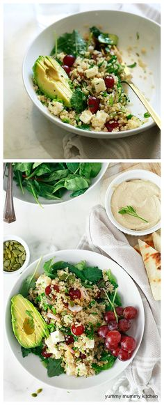 Quinoa Salad with feta, grapes, avocado, and basil. This vegetarian quinoa salad is one of my favorite healthy meal prep, make ahead salads. Vegetarian Quinoa Salad, Vegetarian Italian, Veggie Recipes, Salad Recipes, Vegetarian Recipes, Cooking Recipes, Healthy Recipes, Diet Recipes, Salads