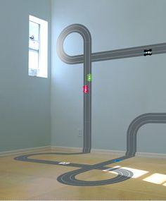 Wall racetrack sticker: http://www.myhomerocks.com/2012/03/boys-bedroom-design-ideas-for-toddlers-infants/