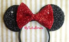 MINNIE MOUSE EARS Headband Black Ears with Big Red by mytutubows, $9.00