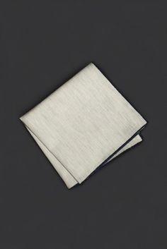Blue Stitched Oatmeal Pocket Square