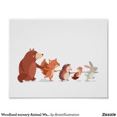 Woodland Animal Nursery, Woodland Nursery Decor, Woodland Animals, Woodland Art, Animal Wall Decals, Kids Wall Decals, Woodland Creatures, Baby Kind, Nursery Wall Art