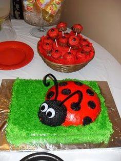 Lady Bug Cake and Cupcake shaped cake balls