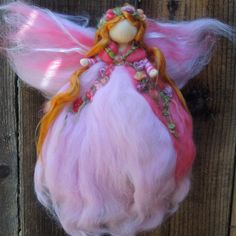 Spring Garden Fairy-  Needle felted wool fairy angel Waldorf inspired creation by Rebecca Varon aka Nushkie. $37.00, via Etsy.