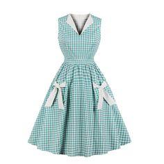 be2730b2006 Pevor Women s 1950s Vintage Lapel V Neck Plaid Bowknot Pockets Party  Rockabilly Retro Swing Dress