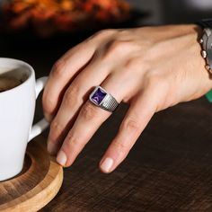 Mens Emerald Rings, Mens Gemstone Rings, Green Emerald Ring, Amethyst And Diamond Ring, Sterling Silver Mens Rings, Blue Sapphire Rings, Purple Amethyst, Gemstone Jewelry, Onyx Ring