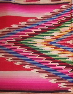 Awesome vintage/antique serape! We love the color, patterns, variety and workmanship that go into the beautiful hand made textiles of Mexico - to see more visit www.mainlymexican.com #Mexico #Mexican #textile #serape #woven