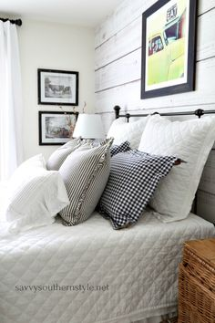 Savvy Southern Style : Gingham and Ticking Farmhouse Style Bedroom Without Spending a Dime Farmhouse Style Bedrooms, French Country Bedrooms, Farmhouse Decor, Cottage Bedrooms, Modern Farmhouse, Modern French Country, French Country House, French Decor, French Country Decorating