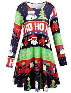 7924dfd6a900 funny christmas reindeer - Macr&Steve Women's Santa Flare Christmas Pattern  A Line Xmas Swing Skater Dress *** Learn more by visiting the image link.