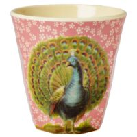 Rice DK Coral Flower and Peacock Print Melamine Cup