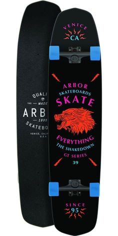 "Arbor Shakedown GT 39"" Longboard Skateboard Complete - 2014 The Shakedown 39 is the largest in the Shakedown series from Arbor. It's perfect for those transitioning from longboarding wanting to get into street skating. Weather you're looking to go cruising through your town or smashing down your hills the Shakedown will be able to handle whatever you may throw at it. Setup with some traditional kingpin trucks as well as some soft wheels this will be great for all around riding."