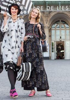 Skirts & dresses – GUDRUN SJÖDÉN. The outfit on the right is a tunic blouse over a skirt over wide pants. Size 16 me would look ...very different than the size 2 model. I love the print.
