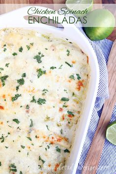Chicken and Spinach Enchiladas Recipe | With no canned soups and a healthy dose of greens, you'll feel good about feeding these enchiladas to your family (just try not to think about all that cheese and sour cream)!